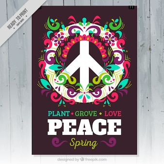 Cartel de fiesta de primavera de símbolo de la paz con flores coloridas