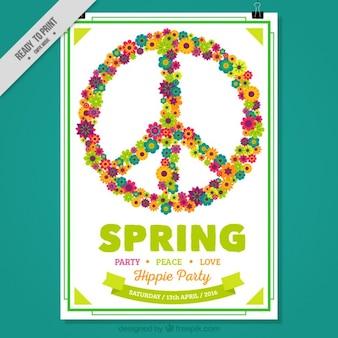 Cartel de fiesta primaveral de símbolo hippie hecho de flores