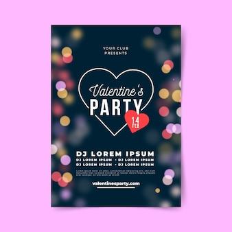 Cartel de fiesta de san valentín borrosa