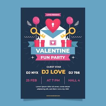 Cartel de fiesta de san valentín de diseño plano