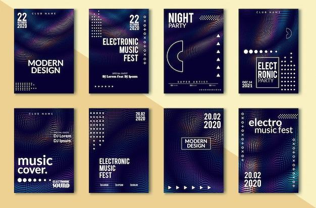 Cartel de fiesta de sonido electrónico, líneas distorsionadas de onda abstracta