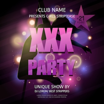Cartel de fiesta de strip club