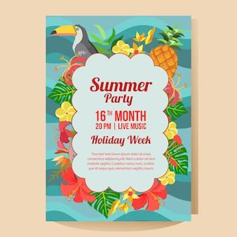 Cartel de fiesta de vacaciones de verano con estilo plano de tema tropical
