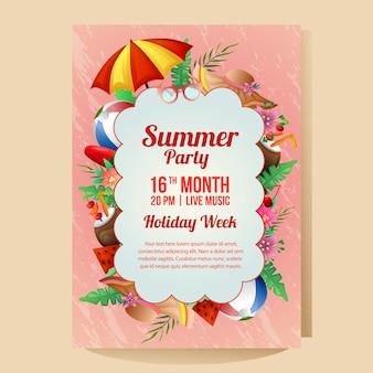 Cartel de la fiesta de vacaciones de verano con playa de paraguas