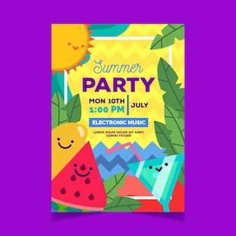 Cartel de fiesta de verano con cócteles y sandía