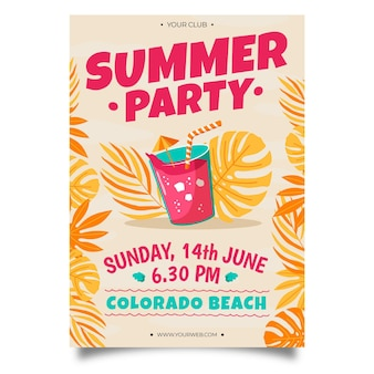 Cartel de fiesta de verano dibujado a mano de jugo helado