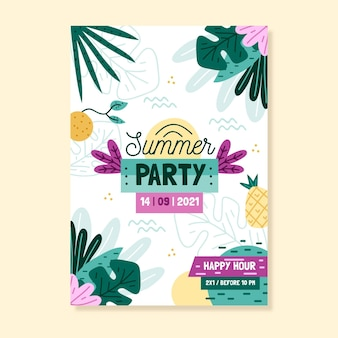 Cartel de fiesta de verano dibujado a mano