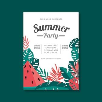 Cartel de fiesta de verano de diseño plano con ilustraciones tropicales