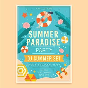 Cartel de fiesta de verano en diseño plano
