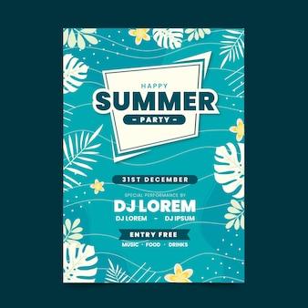 Cartel de fiesta de verano de diseño plano