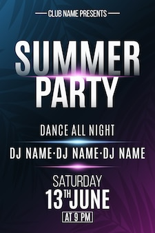 Cartel de fiesta de verano con efecto de luz de neón. dj y nombre del club.