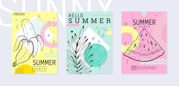 Cartel de fiesta de verano en estilo geométrico de memphis con bosquejo de hojas tropicales.