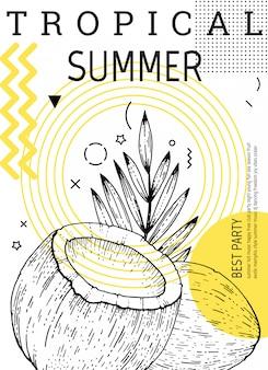 Cartel de fiesta de verano en estilo geométrico de memphis. folleto de moda genial con comillas tipo.