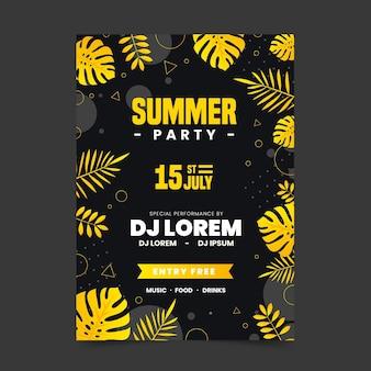 Cartel de fiesta de verano con follaje