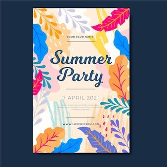 Cartel de fiesta de verano con hojas coloridas
