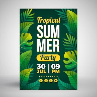 Cartel de fiesta de verano con hojas tropicales