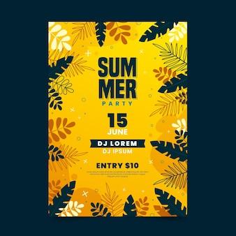 Cartel de fiesta de verano con hojas