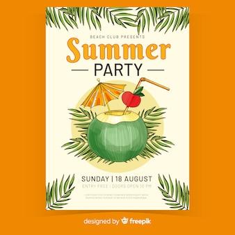Cartel de fiesta de verano de jugo en coco