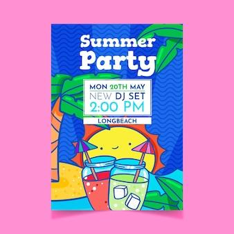 Cartel de fiesta de verano con palmeras y cócteles.
