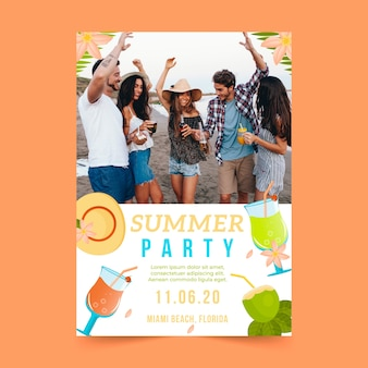 Cartel de fiesta de verano de papelería