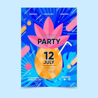 Cartel de fiesta de verano con piña