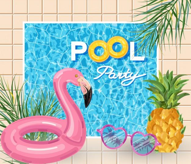 Cartel de fiesta de verano en la piscina con flamenco.