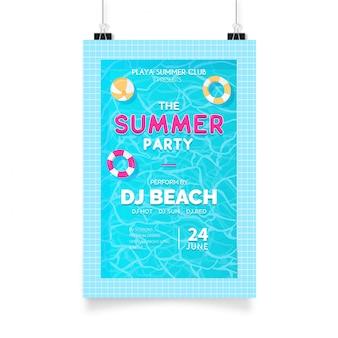 Cartel fiesta de verano con piscina.