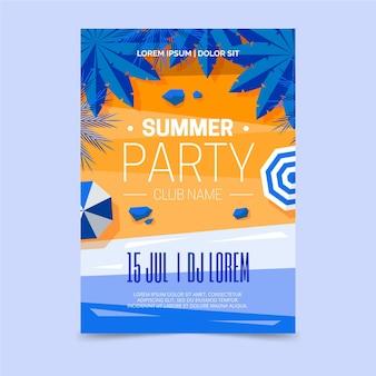 Cartel de fiesta de verano con playa