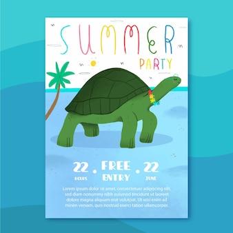 Cartel de fiesta de verano con tortuga