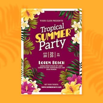 Cartel de fiesta de verano tropical