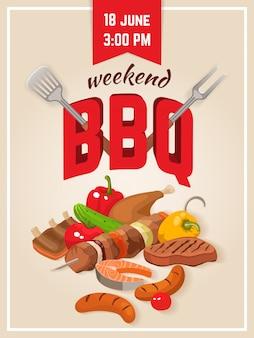 Cartel de fin de semana de barbacoa