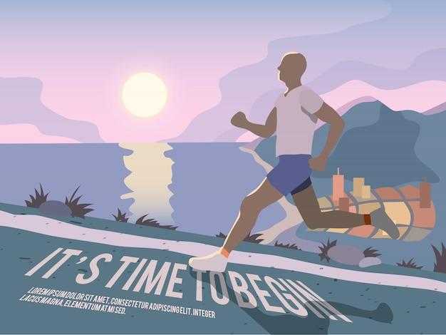 Cartel de fitness de hombre corriendo