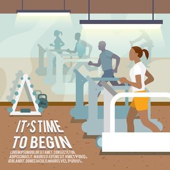 Cartel de fitness de personas en cintas de correr.