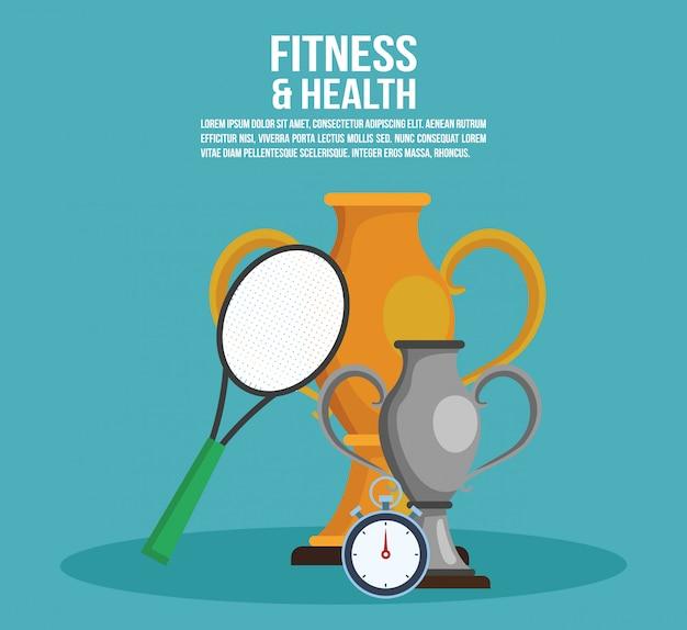 Cartel de fitness y salud con información y elementos de diseño gráfico de ilustración vectorial