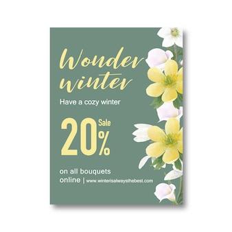 Cartel de floración de invierno con flores y follajes