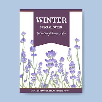 Cartel de floración de invierno con lavanda