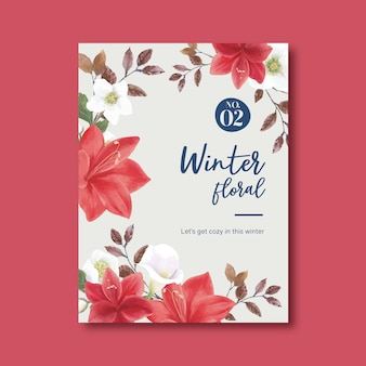 Cartel de floración de invierno con lirios, coronario