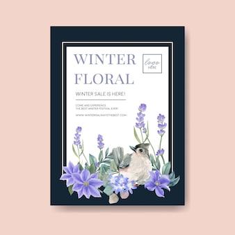Cartel de floración de invierno con pájaro, flor