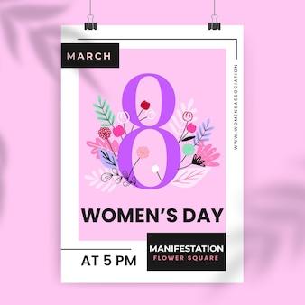 Cartel floral colorido del día de la mujer.