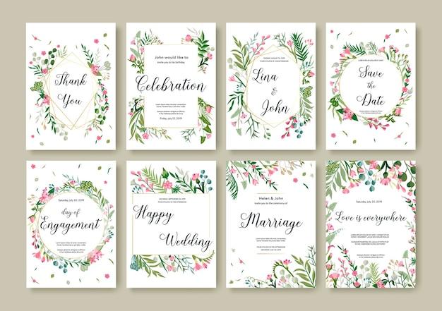 Cartel floral, invitación tarjeta botánica con flores silvestres. fondo de invitación de ilustración dibujada a mano
