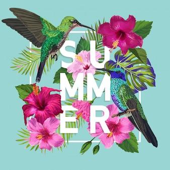 Cartel floral de verano con colibrí
