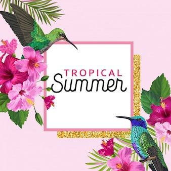 Cartel floral de verano tropical con colibrí