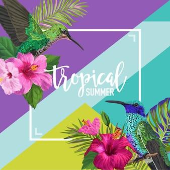 Cartel floral de verano tropical