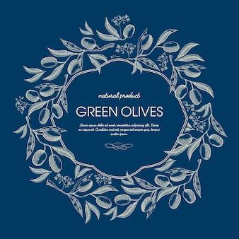 Cartel floral vintage abstracto con texto en marco elegante y ramas de aceitunas verdes en azul