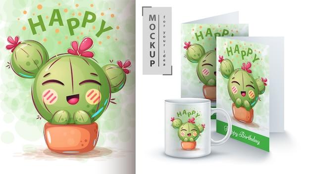 Cartel de flores de cactus y merchandising