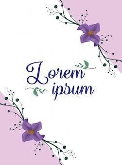 Cartel de flores de color púrpura, espacio en blanco para insertar texto o diseño
