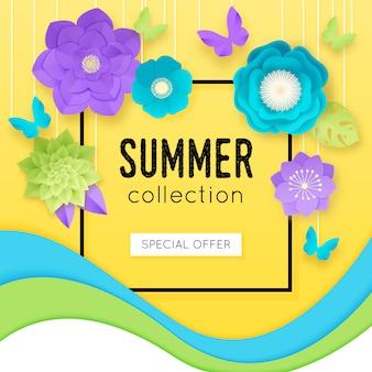 Cartel de flores de papel 3d con titular de oferta especial de colección de verano en el centro, ilustración vectorial