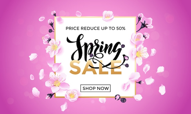 Cartel de flores de venta de primavera