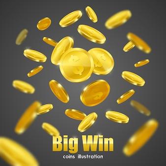 Cartel del fondo del anuncio de las monedas de oro del triunfo grande