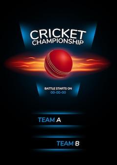 Cartel, fondo para el campeonato de cricket. ilustración con pelota de cricket y texto de plantilla